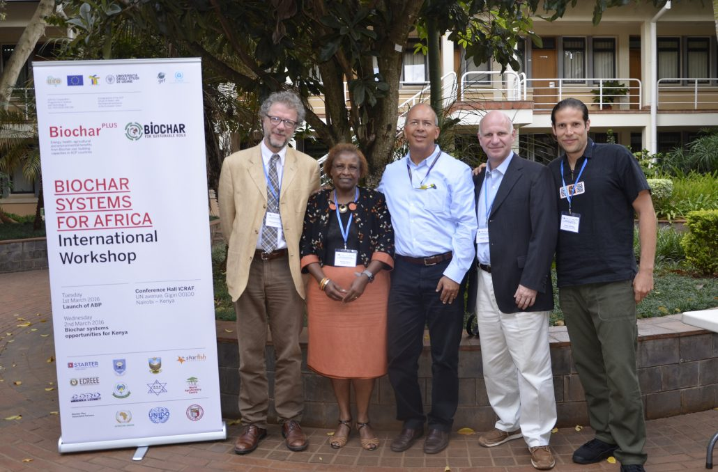 From left to right: Alessandro Peressotti (Biochar Plus), Nancy Karanja (University of Nairobi), Edmundo Barrios (ICRAF), Johannes Lehmann (Cornell University), and Ruy Anaya de la Rosa (B4SS)