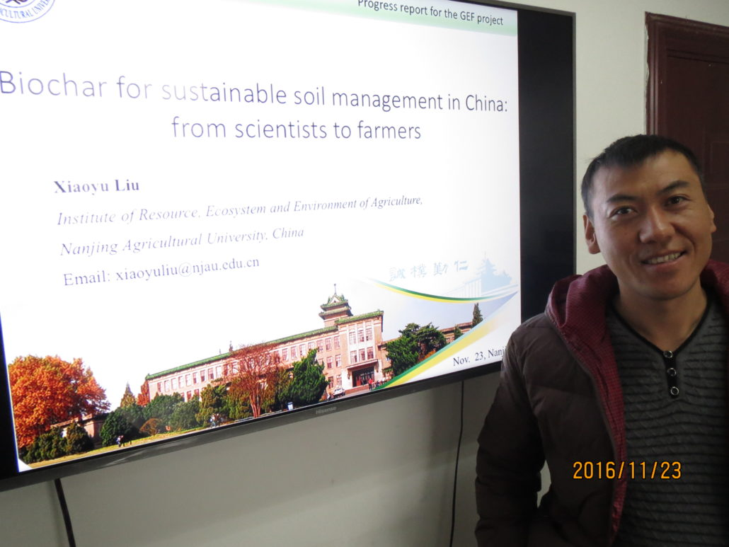 Dr Xiaoyu Liu presenting NAU's biochar activities since 2009